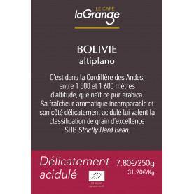 Etiquette silo à café - Bolivie Bio*